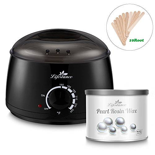 Lifestance Wax Warmer Hair Removal Home Waxing Kit with 10.5 Oz Pearl Rosin Brazilian Body Hard Wax Beans and 10 Wax Applicator Sticks(At-home Waxing)