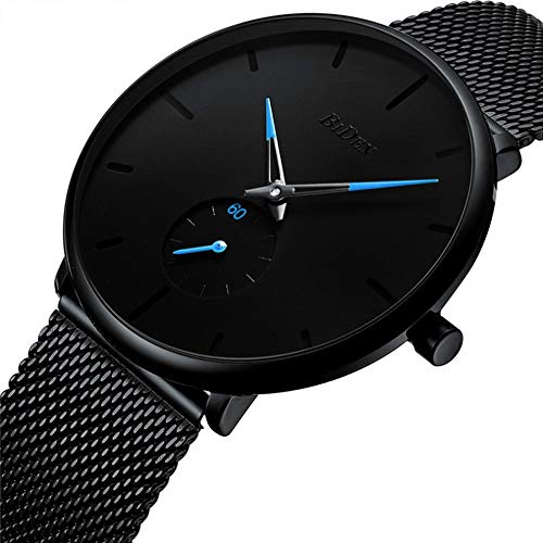 IF FEEL Men's Minimalist Wrist Watches Analog Waterproof Quartz Black Stainless Steel Band