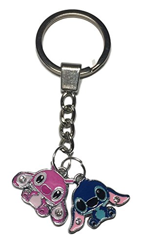 (Lilo And Stitch Movie Stitch and Angel Enamel Filled Characters Metal KEYCHAIN)