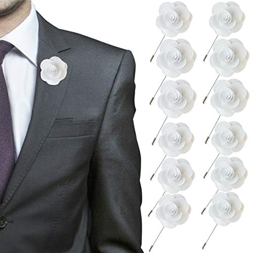 - JLIKA Lapel Flower Pin Rose for Wedding Boutonniere Stick - Set of 12 PINS (White)