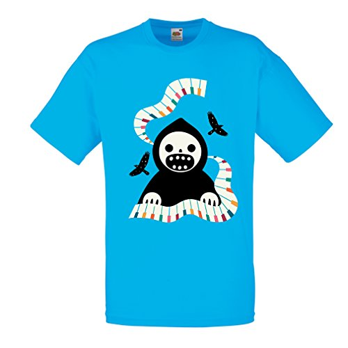 (T Shirts for Men Halloween Horror Nights - The Death is Playing on Piano - Cool Scarry Design (X-Large Blue Multi)