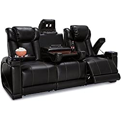 Seatcraft Sigma Leather Gel Home Theater Power Recline Multimedia Sofa with Fold-Down Table (Black)