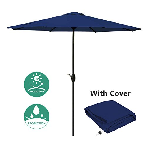 Patio Umbrella 9 Ft Aluminum Outdoor Table Market Umbrellas With Push Button Tilt and Crank, Safety Bolt,8 Ribs (Navy Blue) by Masvis