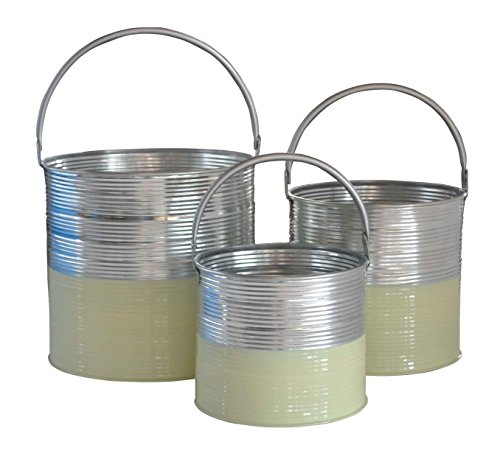 Cheung's FP-4042-3MG Galvanized Half Buckets with Handles| Set of 3| Mint Green (Bucket Green Half)