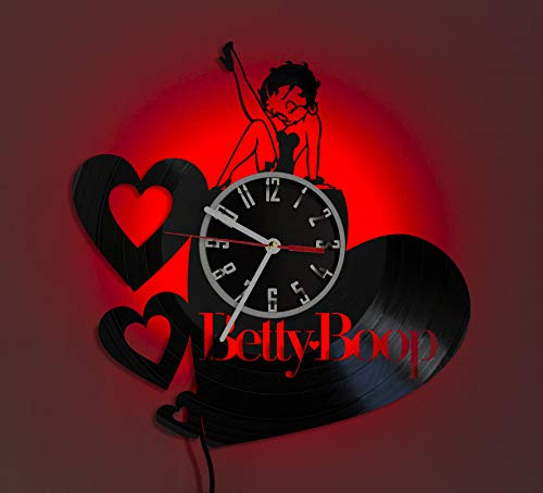 BETTY BOOP LED LIGHT Vinyl Record Wall Clock Wonderful Handmade Gift Amazing Home Décor Night Light Night Lamp