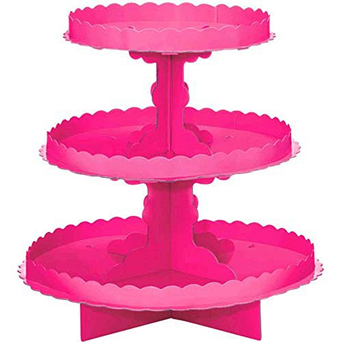 (Bright Pink 3-Tiered Cupcake Stand)
