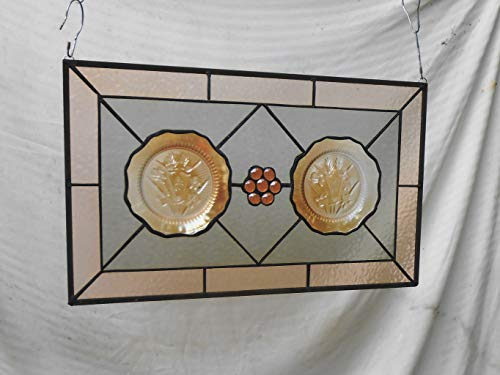 Depression Glass Plate Stained Glass Window Panel, Stained Glass Valance, Iris & Herringbone Stained Glass Transom Window, Unique Home Decor - Iris And Herringbone Depression Glass