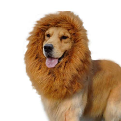 Baost Faux Lion Wigs Mane Hair Pet Cat Dog Costume Halloween Cosplay Hair Accessories Festival Party Fancy Dress Clothes for Animal Cosplay, Funny Prank Random]()
