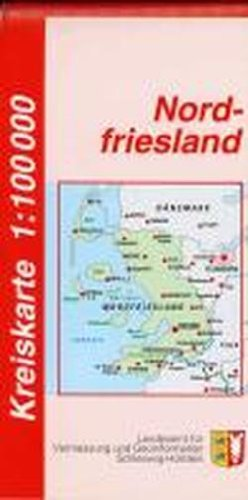 Nordfriesland Kreiskarte 1 : 100 000: Der Karteninhalt erstreckt sich von der Darstellung der Siedlungen, Bodenbewachsung, Gewässerformen, des ... die Darstellung von Amts- und Gemeindegrenzen