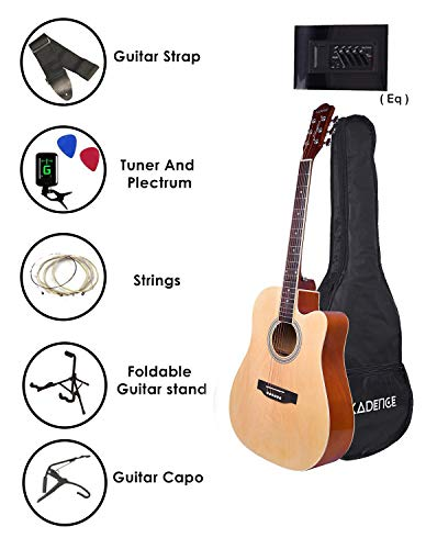 Kadence Frontier Series Acoustic Guitar With Equalizer, Super Combo with Bag, 1 pack Strings, Strap, Picks, Capo, Tuner and Guitar Stand