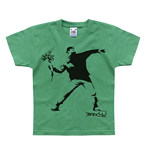 - Nutees Banksy Flower Thrower Street Art Unisex Kids T Shirts - Irish Green 9/11 Years