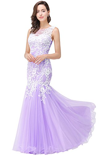 Babyonlinedress Womens Mermaid Evening Dresses Lace Long Prom Homecoming Gown,Lilac,Size 2