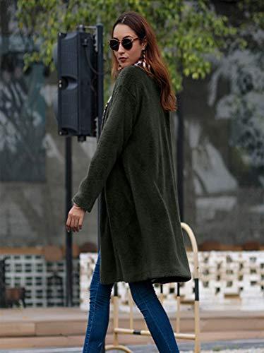 gray Cardigan De Invierno Sección La Mullida xl Media Solapa Larga Verde Camisa Green Abrigo Gris Mujer Otoño Del Cómodo E Ejército Y HfdrUwfx