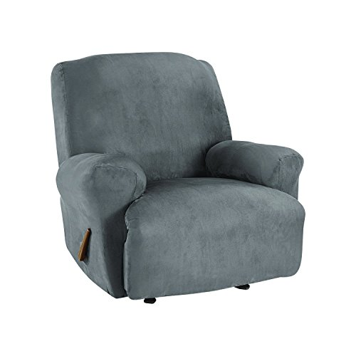 Sure Fit Ultimate Stretch Suede - Recliner Slipcover  - Slate Gray (SF45266) by Surefit