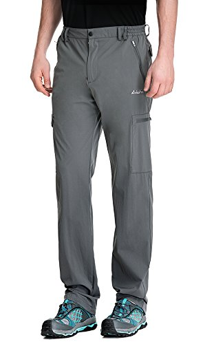 Clothin Men's Elastic-Waist Travel Pant Stretchy Lightweight Cargo Pant Quick Dry Breathable(Grey M)