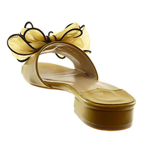 Angkorly Zapatillas Moda Sandalias Mules Slip-On Mujer Nodo Tul Tacón Ancho Alto 4 cm Amarillez