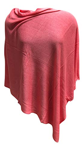 Anny's 100% Bamboo Natural Fiber Poncho Pullover Topper Jacket Ruana with Gift Bag (Watermelon) ()