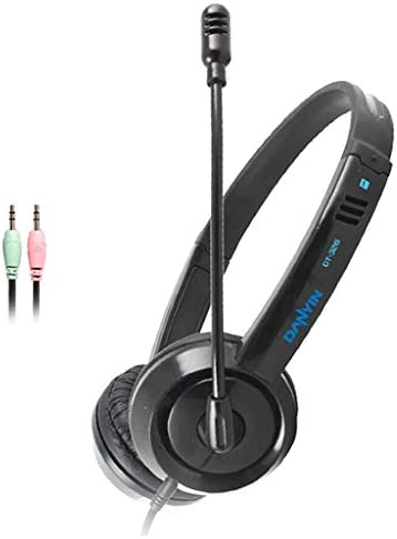 Kokiya Kids Headphones with Microphone Wired On-Ear Headsets with Volume Control Switch Stereo Earphones for Boys/Girls/Children/School Students – Dual 3.5mm Black
