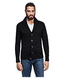 Vincenzo Boretti Men's Cardigan, chunky knit, with shawl collar, slim-fit