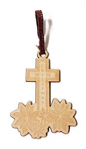 Christmas 2016 Cross and Poinsettias Laser Engraved Wooden Christmas Tree Ornament Gift Seasonal Decoration