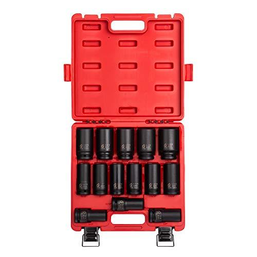 "Sunex 4638, 3/4 Inch Drive Deep Impact Socket Set, 14-Piece, SAE, 3/4"" - 1-5/8"", Cr-Mo Alloy Steel, Radius Corner Design, Dual Size Markings, Heavy Duty Storage Case"