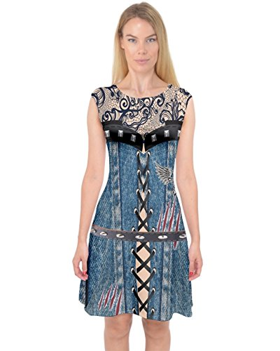 Halloween XS Womens Midi amp; Size Capsleeve Theme Dress Sexy PattyCandy Funny 3XL Music Costume Jeans qtCqwT