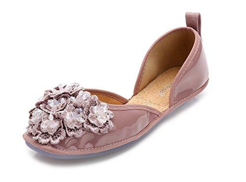 AalarDom Mujer Sin cordones Material Suave Sólido Plano-Diamante Desnudo