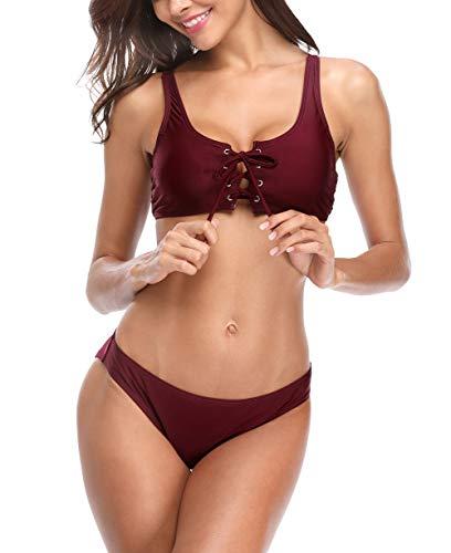 beautyin Lace Up Bikini Set Swimsuits Women's Two Piece Bathing Suits Mid Waisted Wine M