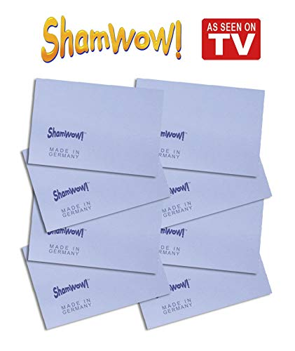The Original Shamwow Mini - Super Absorbent Multi-Purpose Cleaning Shammy (Chamois) Towel Cloth, Machine Washable, Will Not Scratch, Blue (8 Pack)