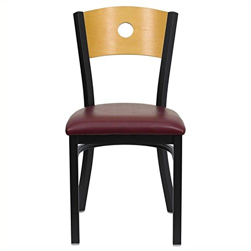 Flash Furniture HERCULES Series Black Circle Back Metal Restaurant Chair - Natural Wood Back, Burgundy Vinyl Seat by Flash Furniture