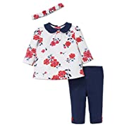 Little Me Baby Girls' 3 Piece Tunic and Legging Set with Headband, Large Red Flowers, 9 Months