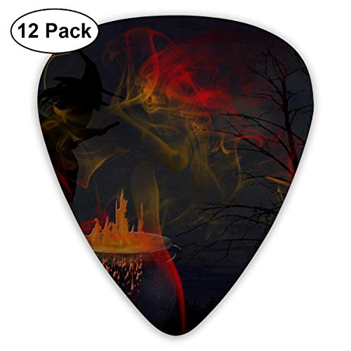 Anticso Custom Guitar Picks, Funny Halloween Refining Witch Pet Black Cat Guitar Pick,Jewelry Gift For Guitar Lover,12 Pack -