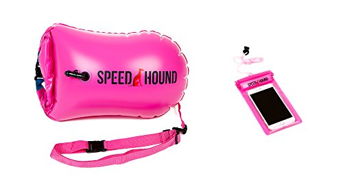 (Speed Hound Swim Buoy - Open Water Swim Buoy Flotation Device with Dry Bag and Waterproof Cell Phone Case (High Vis Pink) for Swimmers, Triathletes, and Snorkelers. Floats for Safer Swims)