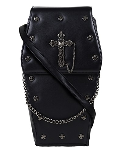 Gothic Handbag Goth Coffin PU Silver Black GOTHX Cross Bag Leather Vegan Backpack Steam Rock Metal Body Cross Punk zgnxOf
