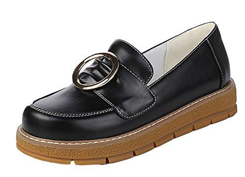 Aisun Kvinna Mode Komfort Rund Tå Lågt Skuren Plattform Slip På Flats Skor Svarta