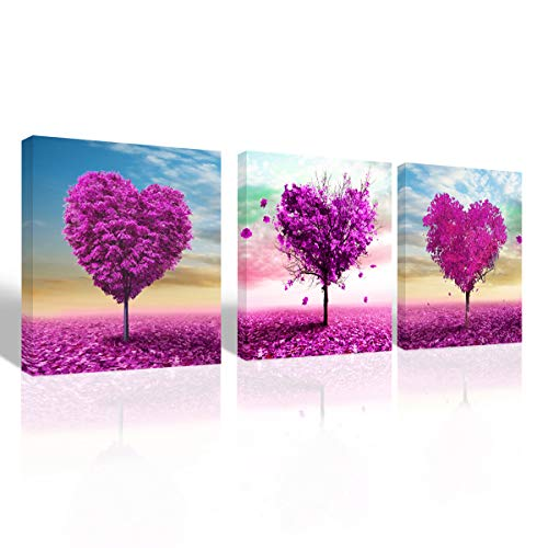 Mon Art Pink and Red Sweet Heart Shape Cherry Blossom Tree Canvas Print Wall Art Abstract Forest Flower Photo Artwork for Daughters Living Room Girls Bedroom Decoration Home Decor Framed,16x16x3P Set