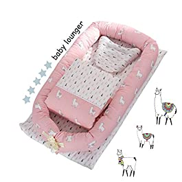 DOLDOA Baby Lounger for Newborn Protable Baby Nest 100% Cotton Baby Bassinet for Bed,Co-Sleep Nest Lounger Pillow for Baby Bedroom/Travel