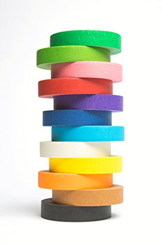 12 Rolls of Colored Masking Tape, 1 in x 60 yds; Great for DIY Label Making, Arts & Crafts, Home & Office. Includes Blue, Black, Yellow, Purple, White and many more. VIBRANT COLORS Photo #5