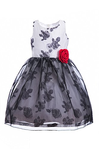 Emma Riley Girls' Sleeveless Printed Floral Tulle Princess Party Dress With Rosette Flower, Flower Black, 14 (Printed Dress Mesh Sleeveless)