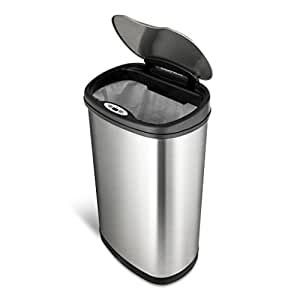 NINESTARS DZT-50-13 The Original Touchless Automatic Motion Sensor Trash Can, Black Top, 13.2 Gal. / 50 L., Stainless Steel
