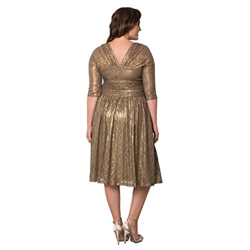 c46d4440c7d Kiyonna Women s Plus Size Limited Edition Metallic Maven Lace Dress  high-quality