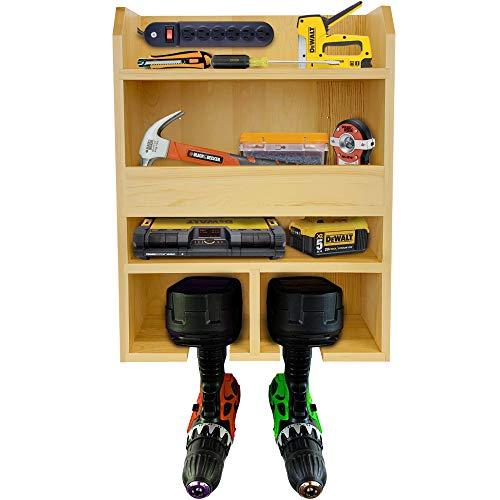 FULLY ASSEMBLED Heavy Duty Power Tool Organizer & Garage Tool Organizer – Drill Charging Station, Screwdriver Organizer…