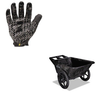 Big Rubbermaid Wheel Cart (KITIRNBHG04LRCP5642BLA - Value Kit - Black 7.5 Cu. Ft. Big Wheel Cart (RCP5642BLA) and IRONCLAD PERFORMANCE WEAR Box Handler Gloves (IRNBHG04L))