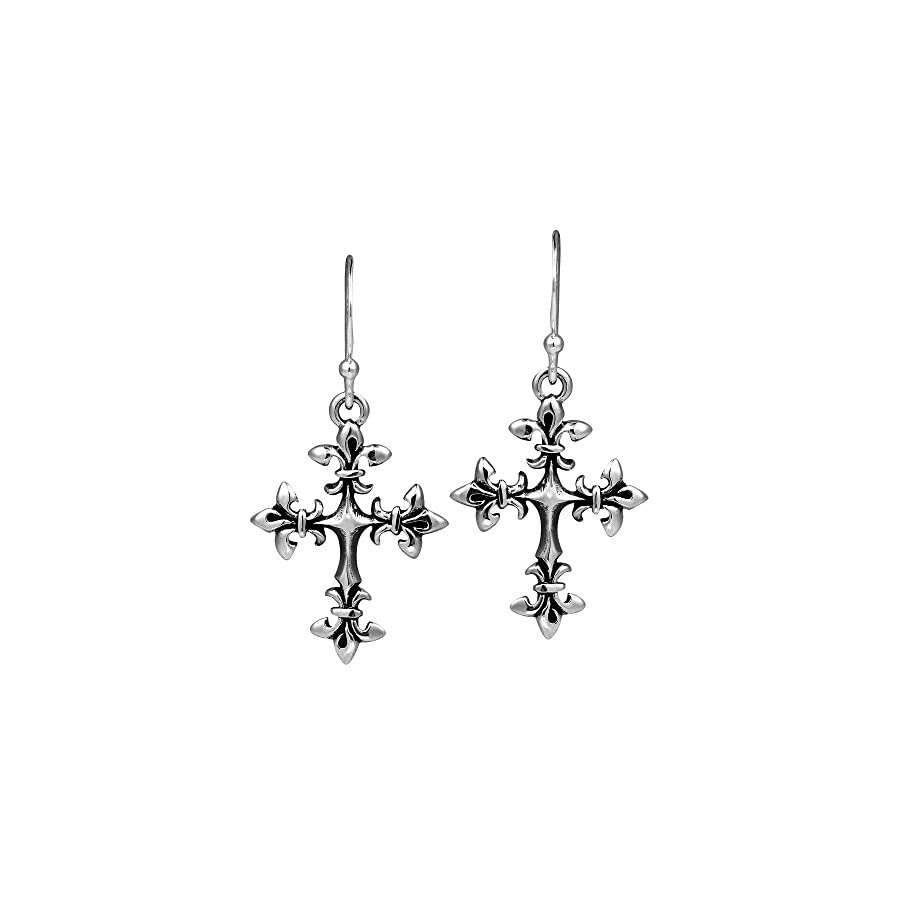 AeraVida Renaissance Fleur de Lis Cross .925 Sterling Silver Dangle Earrings