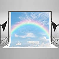 Rainbow Background For Photography Cotton Fabric Backdrop Foldable Without Creases 7X5FT