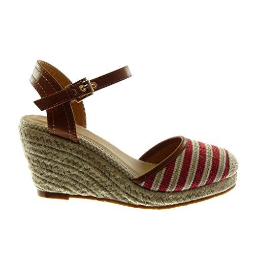 Angkorly Damen Schuhe Sandalen Mule - Knöchelriemen - BI-Material - Plateauschuhe - Seil - Geflochten - Bicolor Keilabsatz High Heel 9 cm Rot