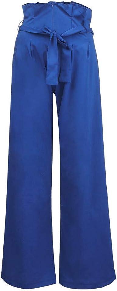 Sylar Pantalones Mujer Cintura Alta con Cinturon, Clásico Color ...