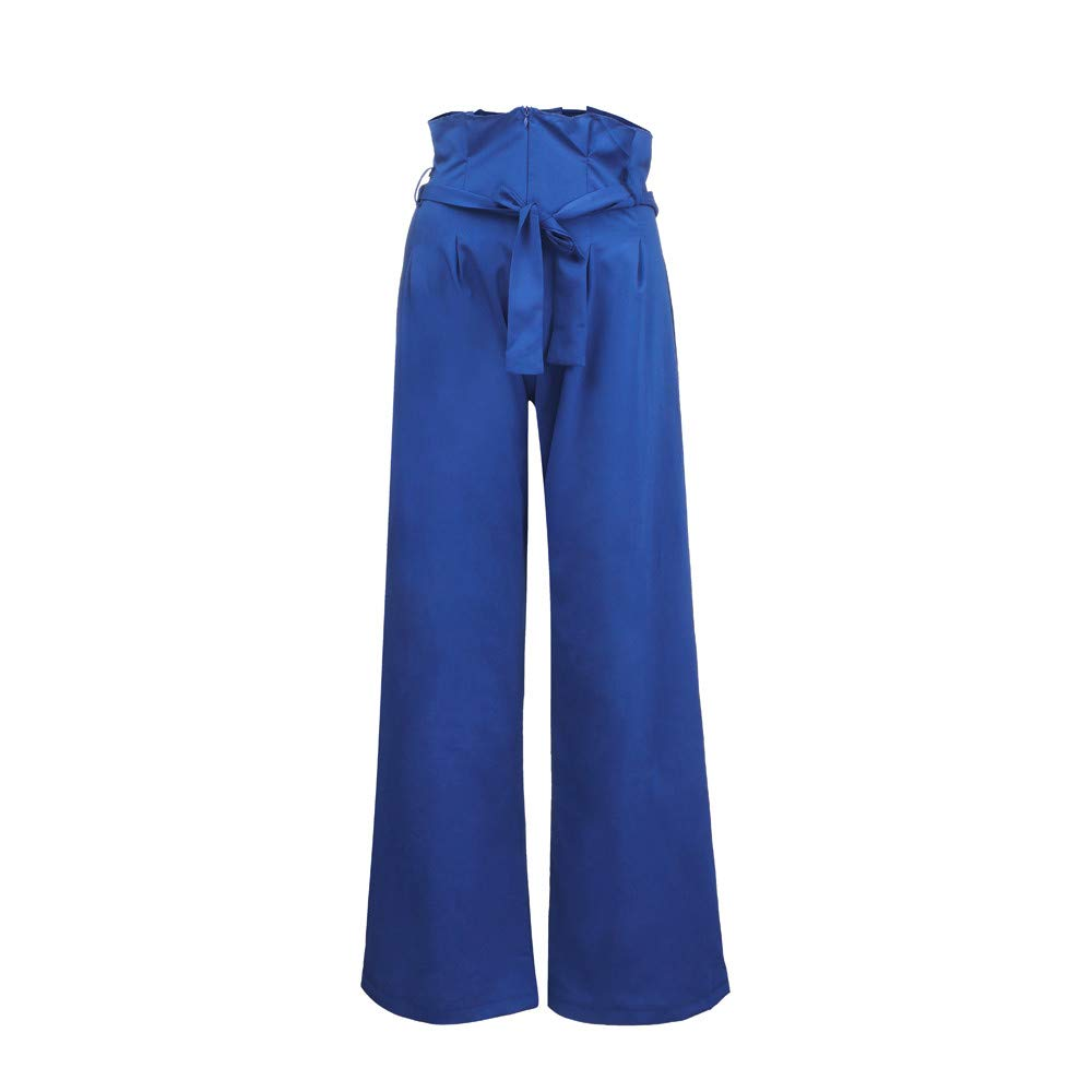 Pervobs Women Solid Mid Elastic Waist Relaxed Fit All Day Straight Long Loose Pants With Lace Up(S, Blue)