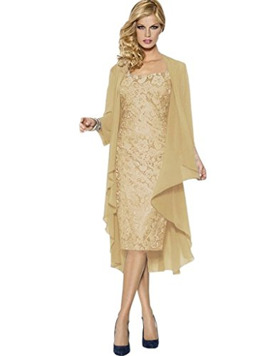 Nitree Lace Chiffon Mother of The Bride Dress Lace Up Gown with Jacket by Nitree
