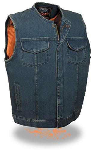 Mens Denim Collarless Hidden Zipper MC Vest, Blue Size 2XL